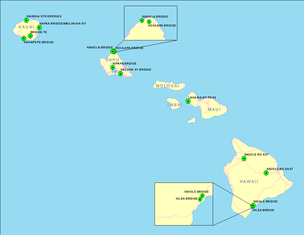 Map of the Hawaiian islands showing the locations of the projects