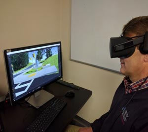 Image of man wearing virtual reality goggles