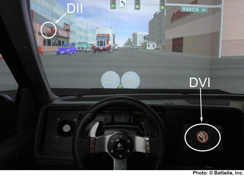 Example of the contractors' driving simulator showing DII and DVI Messages as Seen by the Participants.