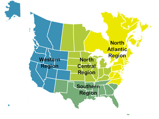 The map shows the four regions for LTPP data collection. The Western region includes Alaska, Hawaii, California, Oregon, Washington, Idaho, Nevada, Arizona, Colorado, Utah, Montana, Wyoming, and the provinces of British Columbia and Alberta. The North Central Region includes North and South Dakota, Kansas, Nebraska, Missouri, Iowa, Minnesota, Illinois, Wisconsin, Kentucky, Ohio, Indiana, Michigan, and the provinces of Saskatchewan and Manitoba. The North Atlantic Region includes North Carolina, Virginia, Maryland, West Virginia, Delaware, Pennsylvania, New Jersey, Rhode Island, Connecticut, New York, Massachusetts, Vermont, Maine, New Hampshire, and the provinces of Ontario and Quebec. The Southern region includes New Mexico, Texas, Oklahoma, Arkansas, Louisiana, Tennessee, Mississippi, Alabama, Georgia, Florida, South Carolina, and Puerto Rico.