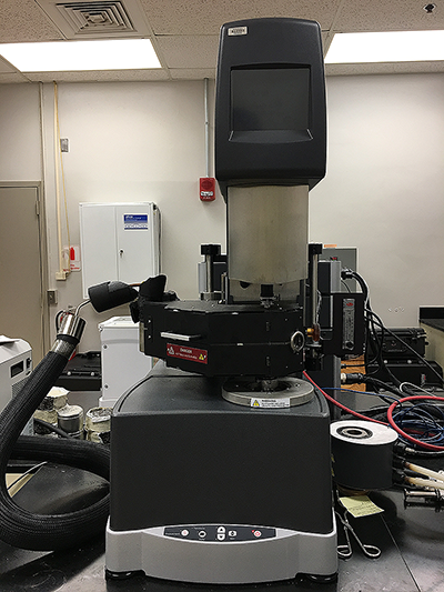A picture of a Dynamic Shear Rheometer (DSR) used in the Binder Laboratory.