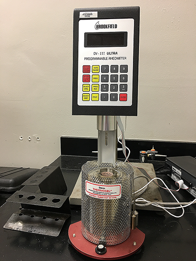 A picture of a Rotational Viscometer used at the Binder Laboratory.