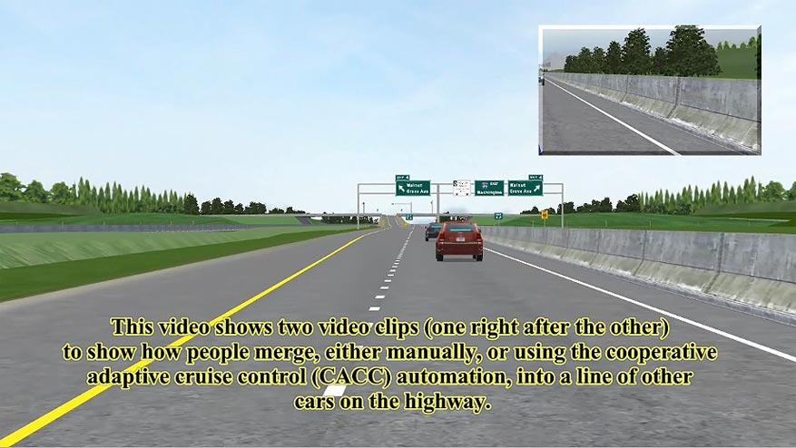 This video shows two video clips (one right after the other) to show how people merge, either manually, or using the cooperative adaptive cruise control (CACC) automation, into a line of other cars on the highway.  The first clip shows a participant merging into a gap in the traffic, with the assistance of the CACC merging automation. The second video shows a participant merging into a gap manually (without CACC). The gaps between the cars are short, and the vehicle merging without the CACC is hit by the car approaching from the rear.