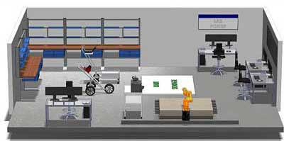 "The three-dimensional, computer-generated drawing is a view of the proposed laboratory interior. On the left wall of the image and left half of the back wall are wall-mounted work tables and shelves. On the right wall and right half of the back wall are desks and chairs. Two handcarts are positioned in the middle of the image, along with an armed marked ""Cart Storage"". Two additional unidentifiable pieces of equipment are in the mock-up."