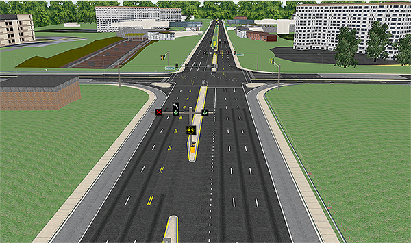"Screenshot. Driving simulator experiment of the contraflow left-turn lane (CLTL) pocket scenario. This image shows a bird's eye view of a four-legged urban intersection with three lanes and a left-turn lane in the northbound direction and three lanes in the southbound direction. The intersection is systematical. The intersection is surrounded by green grassy hills and several buildings. The image shows where the left-turning northbound traffic can cross the opposing lane of traffic to execute the left-turn. The image shows upstream traffic signals for such a maneuver: (1) a red ""X"" over the leftmost lane of traffic, (2) green downward pointing arrow with a white left-turn signal over it (opposing lane where the left-turn can be executed), and (3) a green downward pointing arrow (in the normal, left-turn lane). The concrete median tapers open with double, dashed yellow lines marking the reversible lane."