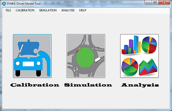 "Screenshot. Main menu and components of the FHWA Driver Model Software: calibration, simulation, and analysis. This image shows the main menu of the FHWA Driver Model Software. The title (at the top of the window) reads ""FHWA Driver Model Tool"" directly left of the USDOT triskelion logo. Beneath the title are the main tabs: ""File"", ""Calibration"", ""Simulation"", ""Analysis"", and ""Help"". Beneath the tabs are the three main components of the software: ""Calibration"", ""Simulation"", and ""Analysis"". Each component has a logo: (1) ""Calibration"" – a mechanic diagnosing a vehicle's engine, (2) ""Simulation"" – vehicles simulated on a roundabout, (3) ""Analysis"" – various colored bar and pie charts."