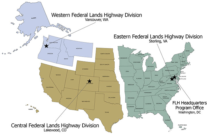 Map of USA showing FLH divisions/regions