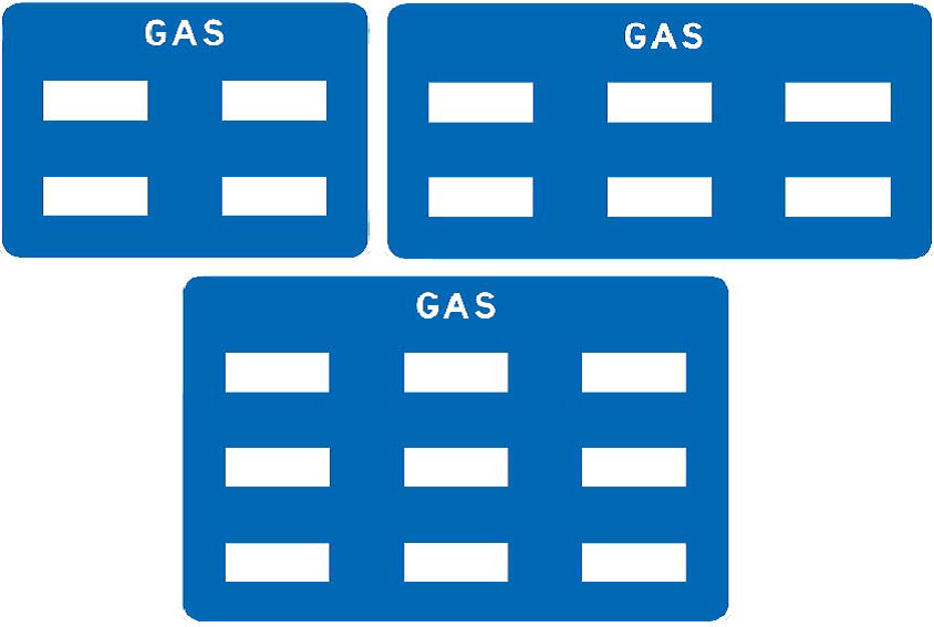 An example of the four-, six-, and nine-panel signs.