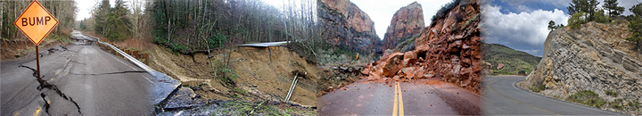 Unstable slope images of transportation corridor damage that includes rockfall and landslides.