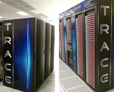 Zephyr (left) and Phoenix (right) computer clusters are shown in seven black cabinets. The clusters are located at the Argonne National Laboratory (ANL) in Lemont, Illinois.