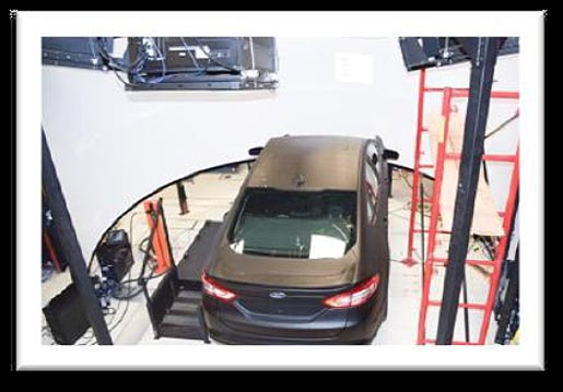 This image was taken from an elevated view above the new HDS vehicle. It shows the roof of the vehicle as well as the projectors and wraparound screen.