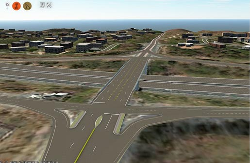 This image shows a simulated bird's-eye view of a dynamic reversible left- turn interchange