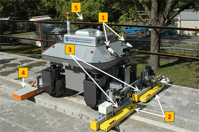 The photo shows the RABIT-CE™ bridge deck assessment tool on a concrete bridge deck