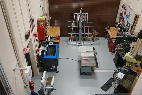 This photograph shows an aerial view of the tools available in the Laboratory Machine Shop.