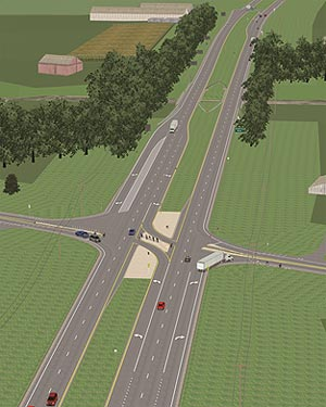 Figure 2: A screen capture of a computer simulation of an intersection showing a birds-eye view of a two lanes of traffic flowing in both directions. Both lanes have left and right turn lanes and a central median divides the two.  Vehicles, including cars and trucks, are shown traveling in both directions as well as entering and leaving the intersections.