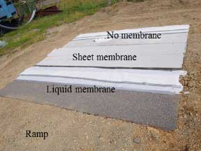 Figure 8. Photograph. Construction of asphalt overlays with liquid membrane, sheet membrane, and without a membrane.