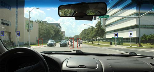 The image shows the view of an intersection on the road as seen from inside a vehicle. There is a building on the left with a light pole and some trees at a distance. Outside the building there are two pedestrian signals enclosed by blue boxes. There is one pedestrian walking on the sidewalk with a red rectangular box around him. There are two oncoming vehicles stopped at the intersection. There are two pedestrians crossing the intersection from left to right and each pedestrian is enclosed in a red box. There is one building on the right side of the image and a signal pole with a sign depicting the name of the street. On the right, outside the building, are two pedestrian signals enclosed in blue boxes. Outside the building on the walkway there is a bus shelter. A number of trees are seen along the road outside the building. At the bottom of the image there is a steering wheel on the left side and the vehicle dash board on the right side showing a compartment. At the top of the image, the viewer can see the vehicle's rear-view mirror.